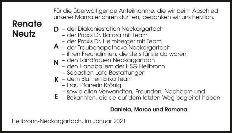 Traueranzeige für Renate Neutz vom 22.01.2021 aus GESAMT