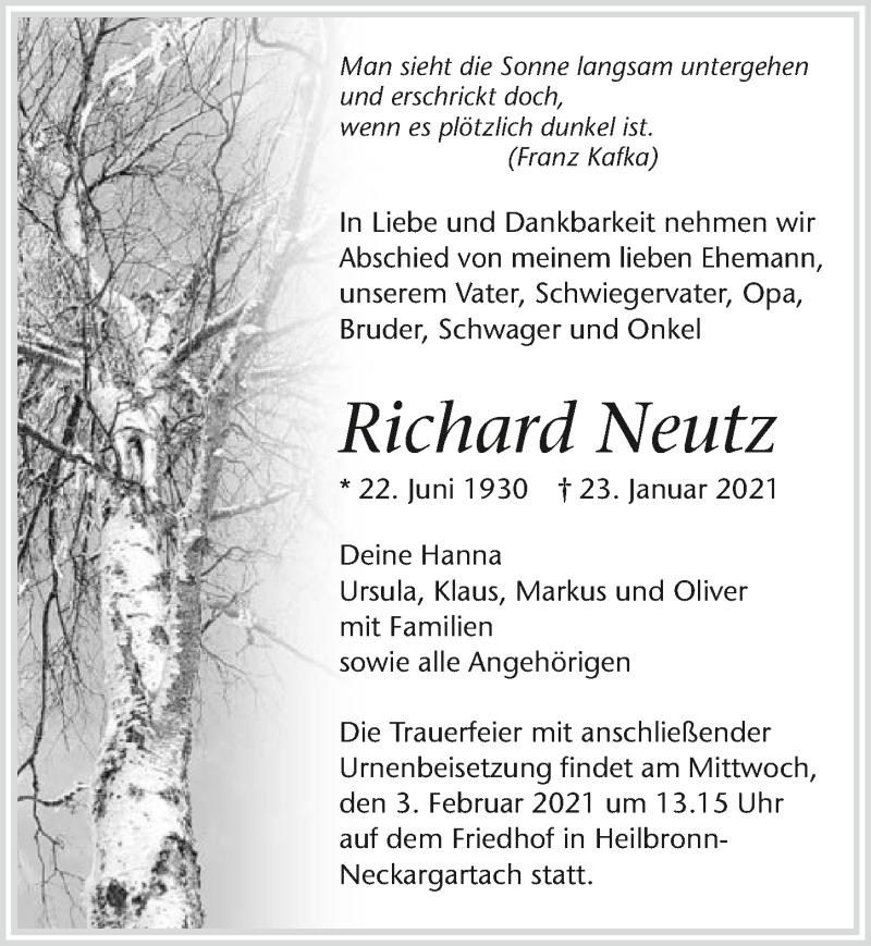 Traueranzeige für Richard Neutz vom 29.01.2021 aus GESAMT