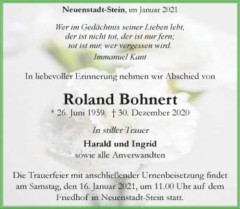 Traueranzeige von Roland Bohnert von GESAMT