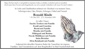 Traueranzeige von Ronald Klaile von GESAMT