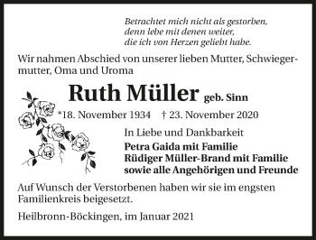 Traueranzeige von Ruth Müller von GESAMT
