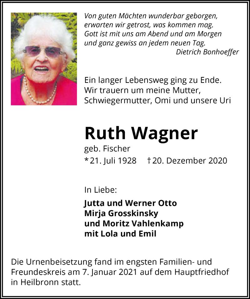 Traueranzeige für Ruth Wagner vom 09.01.2021 aus GESAMT