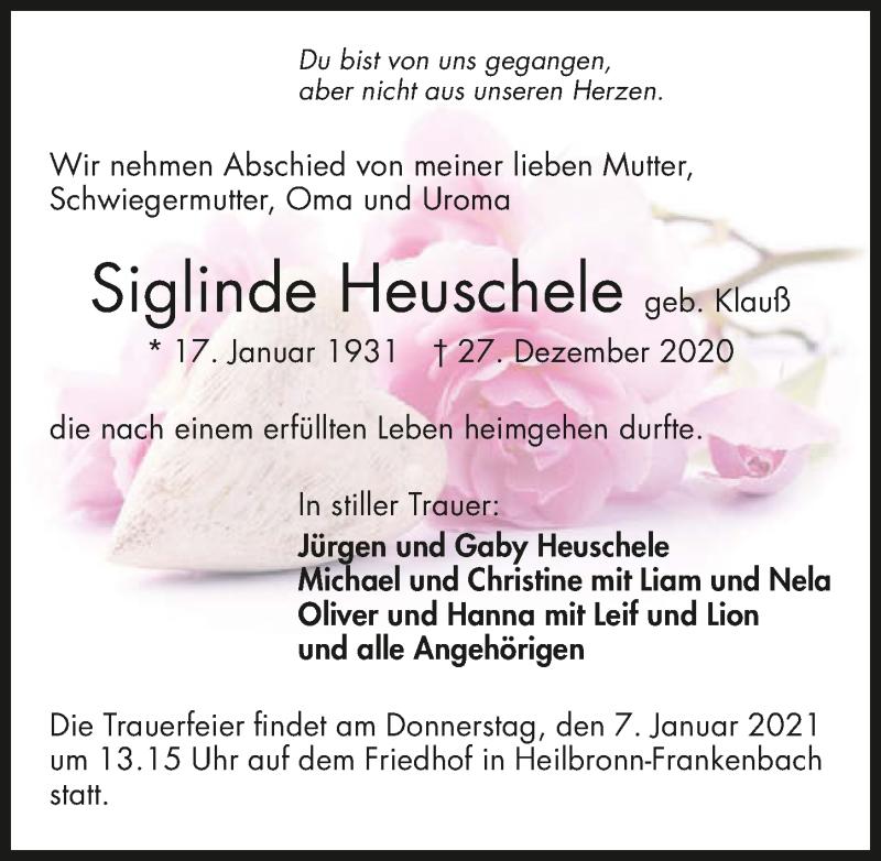 Traueranzeige für Siglinde Heuschele vom 04.01.2021 aus GESAMT
