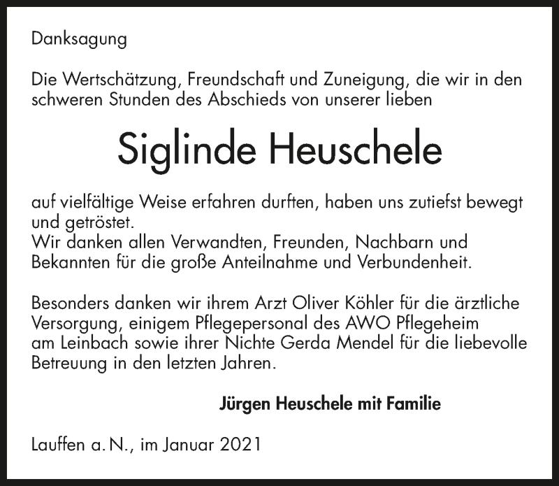 Traueranzeige für Siglinde Heuschele vom 21.01.2021 aus GESAMT