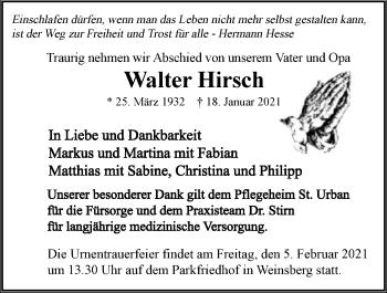 Traueranzeige von Walter Hirsch von GESAMT