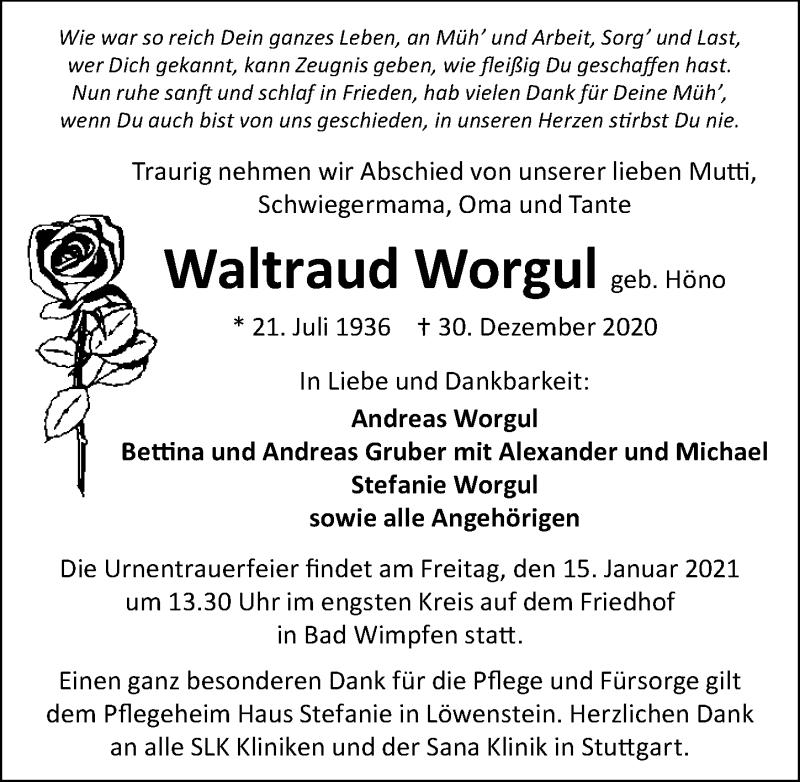 Traueranzeige für Waltraud Worgul vom 09.01.2021 aus GESAMT