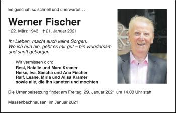 Traueranzeige von Werner Fischer von GESAMT
