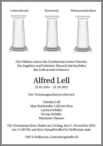Traueranzeige von Alfred Lell von GESAMT