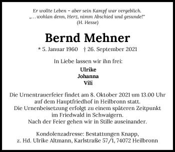 Traueranzeige von Bernd Mehner von GESAMT