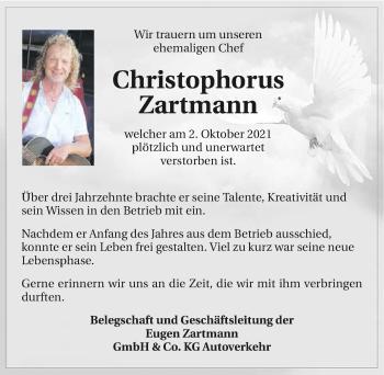 Traueranzeige von Christophorus Zartmann von GESAMT