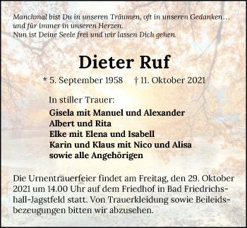 Traueranzeige von Dieter Ruf von GESAMT