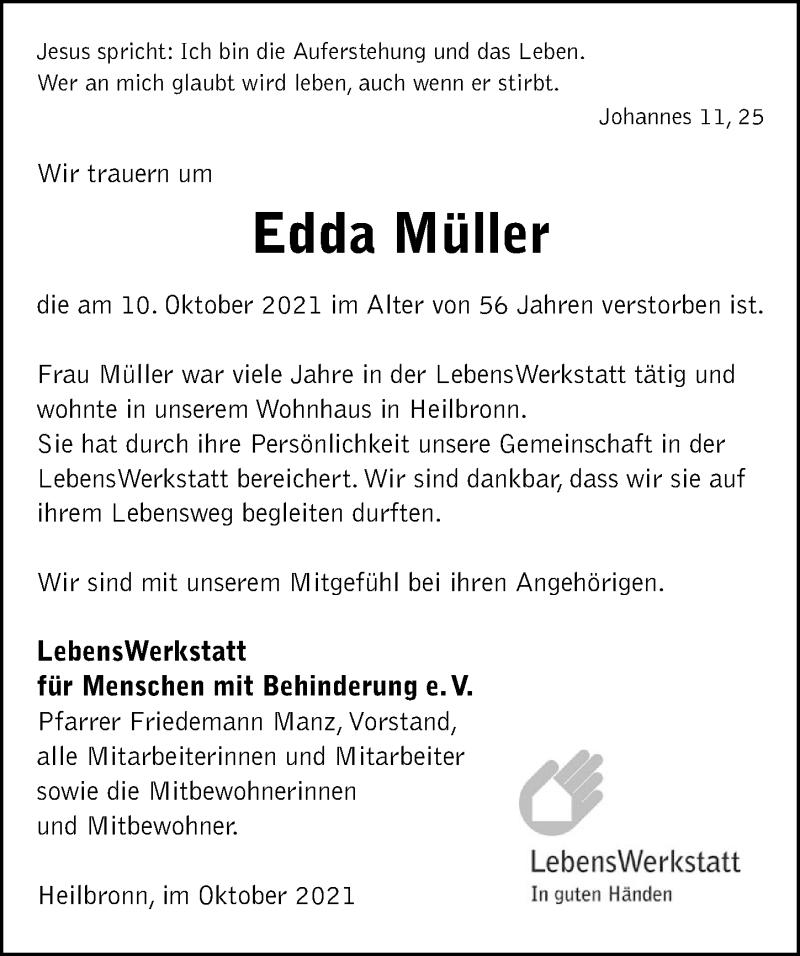 Traueranzeige für Edda Müller vom 14.10.2021 aus GESAMT