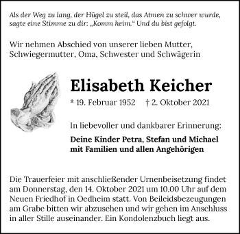 Traueranzeige von Elisabeth Keicher von GESAMT