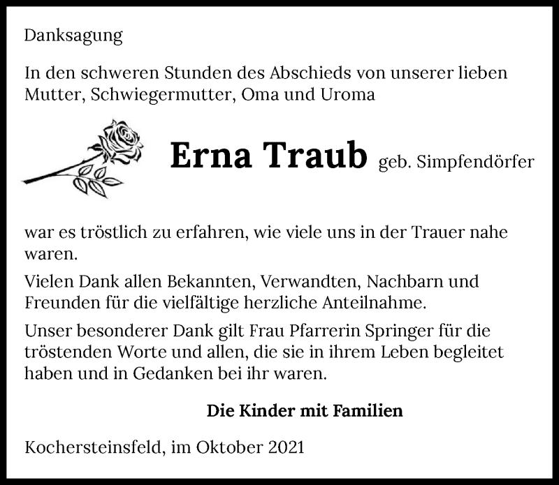 Traueranzeige für Erna Traub vom 09.10.2021 aus GESAMT