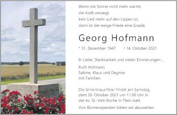 Traueranzeige von Georg Hofmann von GESAMT