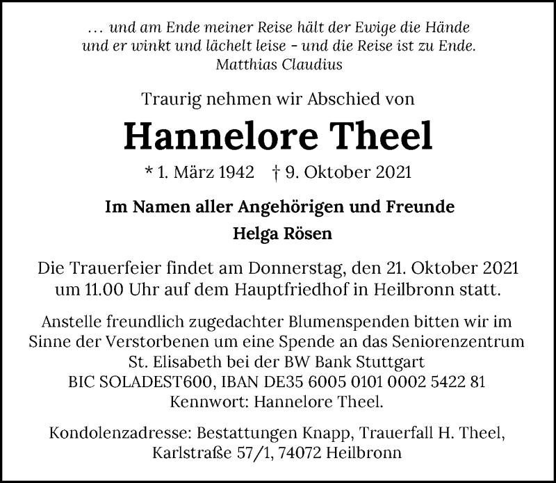 Traueranzeige für Hannelore Theel vom 15.10.2021 aus GESAMT