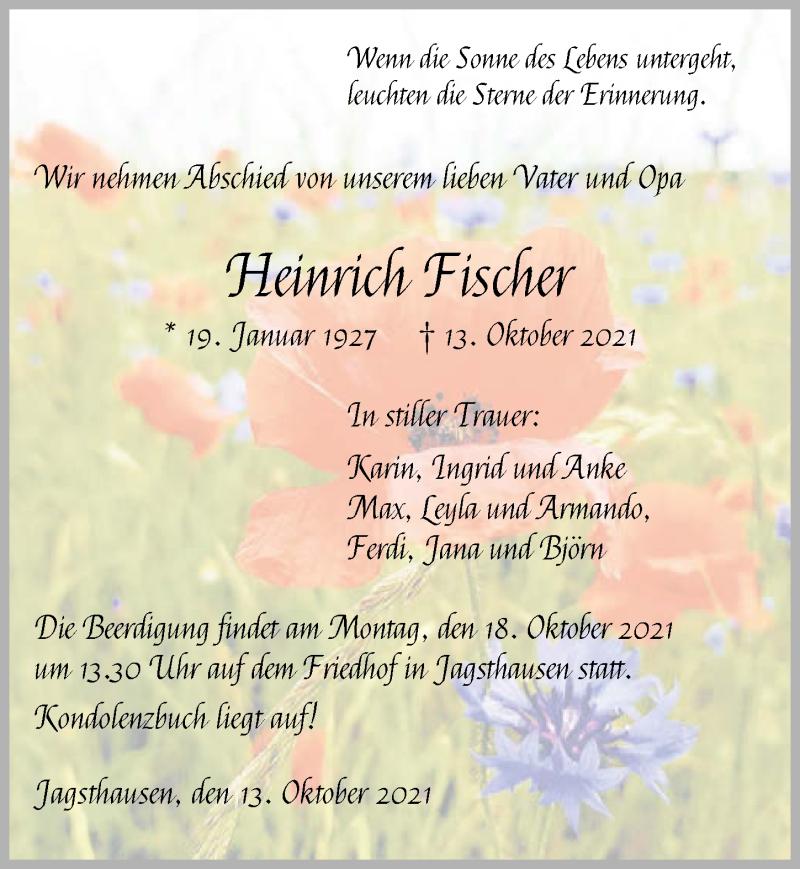 Traueranzeige für Heinrich Fischer vom 15.10.2021 aus GESAMT