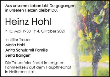 Traueranzeige von Heinz Hohl von GESAMT