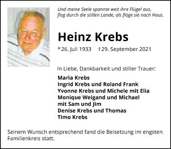 Traueranzeige von Heinz Krebs von GESAMT