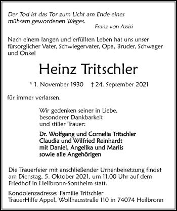 Traueranzeige von Heinz Tritschler von GESAMT