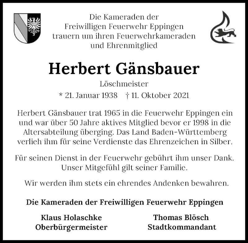 Traueranzeige für Herbert Gänsbauer vom 16.10.2021 aus GESAMT