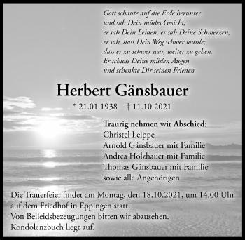 Traueranzeige von Herbert Gänsbauer von GESAMT