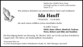 Traueranzeige von Ida Hauff von GESAMT