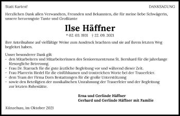 Traueranzeige von Ilse Häffner von GESAMT