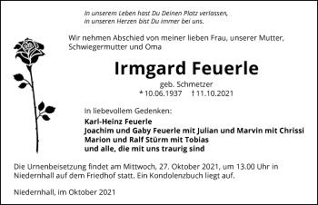Traueranzeige von Irmgard Feuerle von GESAMT