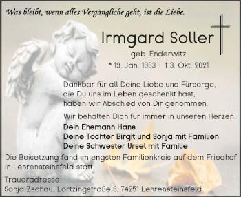 Traueranzeige von Irmgard Soller von GESAMT