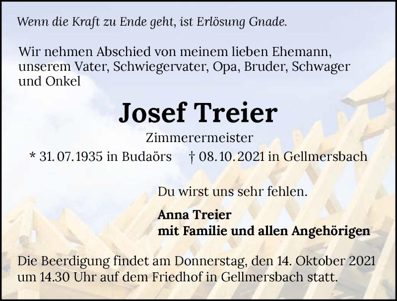 Traueranzeige für Josef Treier vom 12.10.2021 aus GESAMT