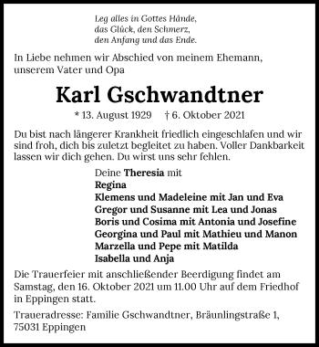 Traueranzeige von Karl Gschwandtner von GESAMT