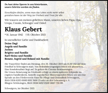 Traueranzeige von Klaus Gebert von GESAMT