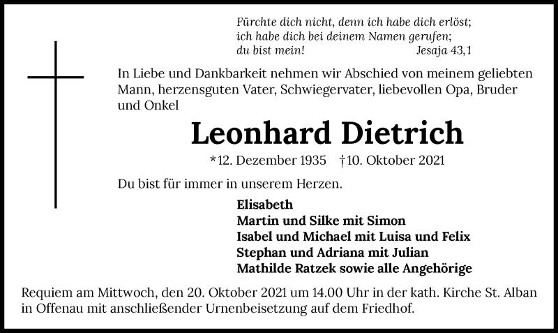 Traueranzeige für Leonhard Dietrich vom 15.10.2021 aus GESAMT