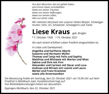 Traueranzeige von Liese Kraus von GESAMT