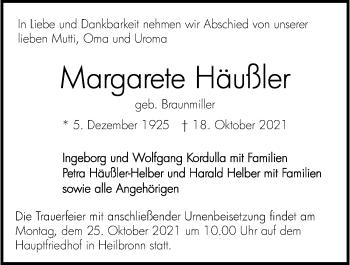 Traueranzeige von Margarete Häußler von GESAMT