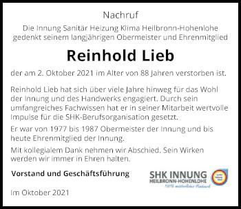 Traueranzeige von Reinhold Lieb von GESAMT