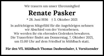 Traueranzeige von Renate Pasker von GESAMT