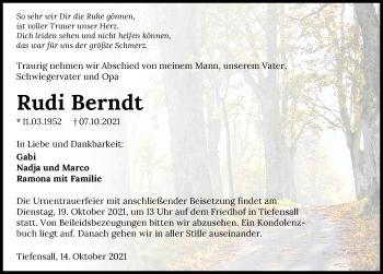 Traueranzeige von Rudi Berndt von GESAMT