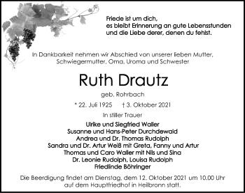 Traueranzeige von Ruth Drautz von GESAMT