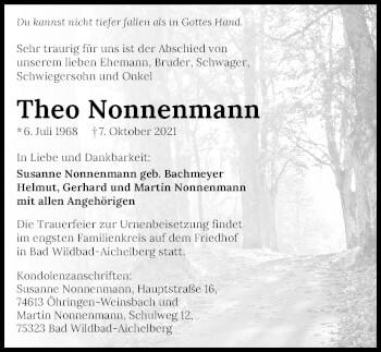 Traueranzeige von Theo Nonnenmann von GESAMT