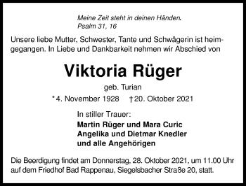 Traueranzeige von Viktoria Rüger von GESAMT