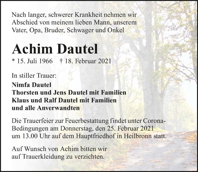Traueranzeige für Achim Dautel vom 20.02.2021 aus GESAMT