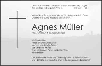 Traueranzeige von Agnes Müller von GESAMT