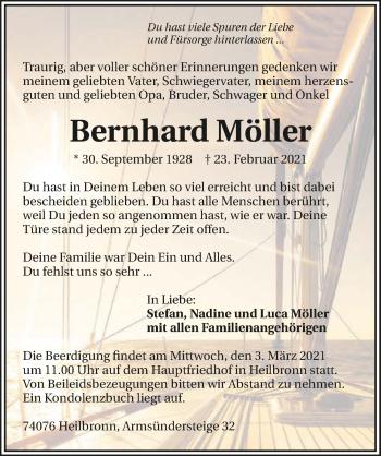Traueranzeige von Bernhard Möller von GESAMT