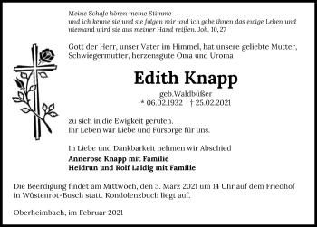 Traueranzeige von Edith Knapp von GESAMT