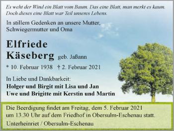 Traueranzeige von Elfriede Käseberg von GESAMT