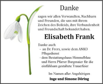 Traueranzeige von Elisabeth Frank von GESAMT
