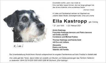 Traueranzeige von Ella Kastropp von GESAMT