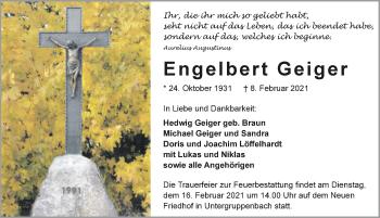 Traueranzeige von Engelbert Geiger von GESAMT